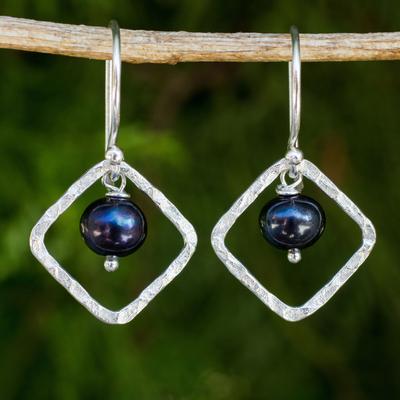 Cultured pearl dangle earrings, 'Black Moons' - Fair Trade Sterling Silver Earrings with Black Pearls