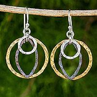 Gold plated sterling silver dangle earrings, 'Equilibrium' - Artisan Crafted Earrings with Sterling Silver and Gold Plate