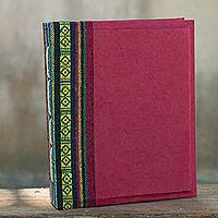 Saa paper photo album, 'Crimson Geometry' - Red Handmade Saa Paper Cotton Trim 4x6 Photo Album
