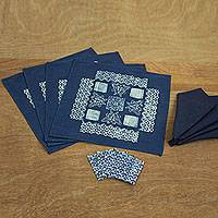 Cotton batik table linen set, 'White Butterflies' (set for 4) - Hand Stamped Blue Batik Cotton Table Linen Set for 4