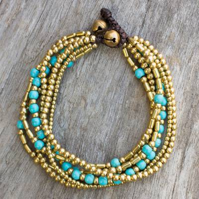 Beaded bracelet, 'Turquoise Freedom' - Artisan Crafted Bracelet with Brass and Turquoise colour Bea