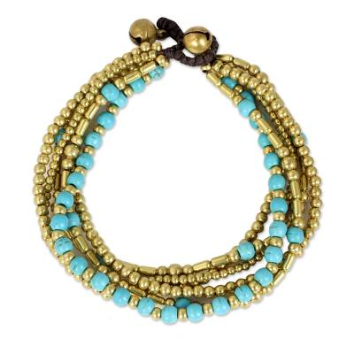 Artisan Crafted Bracelet with Brass and Turquoise Color Bead