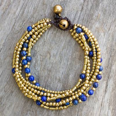 Lapis lazuli beaded bracelet, 'Blue Freedom' - Lapis Lazuli Brass Beaded Bracelet Crafted by Hand