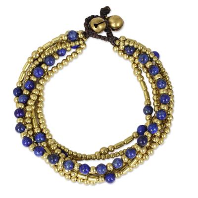 Lapis lazuli beaded bracelet, 'Blue Freedom' - Lapis Lazuli Brass Beaded Bracelet Crafted by Hand