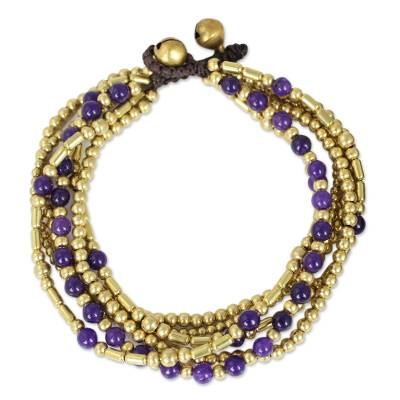 Beaded bracelet, 'Purple Freedom' - Purple Quartz and Brass Beaded Hand Crafted Bracelet