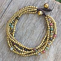 Beaded bracelet, 'Earth Freedom' - Brass Beaded Bracelet Crafted by Hand with Agate