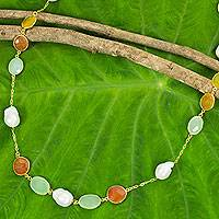 Gold plated cultured pearl and carnelian station necklace, 'Sublime Beauty' - Thai Gold Plated Necklace with Pearl Carnelian Chalcedony