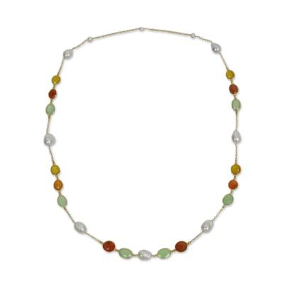 Thai Gold Plated Necklace with Pearl Carnelian Chalcedony