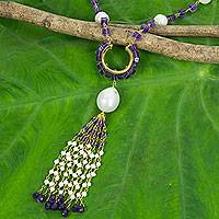Cultured pearl and amethyst pendant necklace, 'Romantic Orchid' - Pearl and Amethyst on 24k Gold Plated Silver Long Necklace