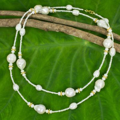 Cultured pearl with gold accents strand necklace, 'Starry Clouds' - Golden Stars on White Pearl Strand Necklace Crafted by Hand