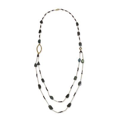 Labradorite & Garnet on 24k Gold Plated Silver Long Necklace
