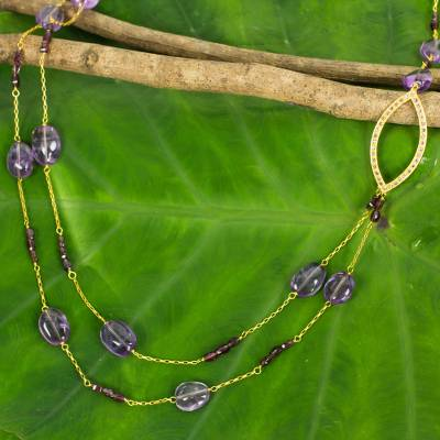 Gold plated amethyst and garnet beaded necklace, 'Lyrical Lanna' - Amethyst and Garnet on Gold Plated Silver 35-Inch Necklace