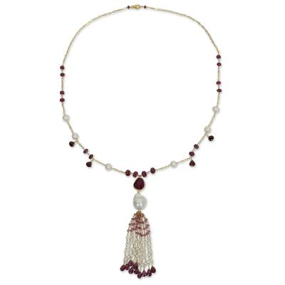 Gold Plated Silver and Gemstone Necklace with Pearl and Ruby