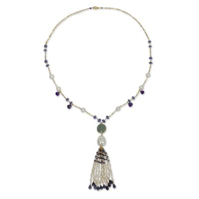 28-Inch Gold Plated Silver Necklace with Pearl and Amazonite