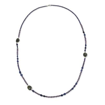 Artisan Crafted Necklace with Iolite Kyanite Labradorite