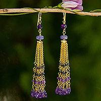 Gold plated amethyst and spinel waterfall earrings,