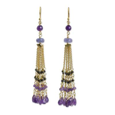 Amethyst and Spinel on Gold Plated Silver Waterfall Earrings