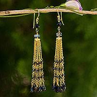 Gold plated labradorite and spinel waterfall earrings, 'Thai Romance' - Gold Plated Earrings with Labradorite Tourmaline and Spinel