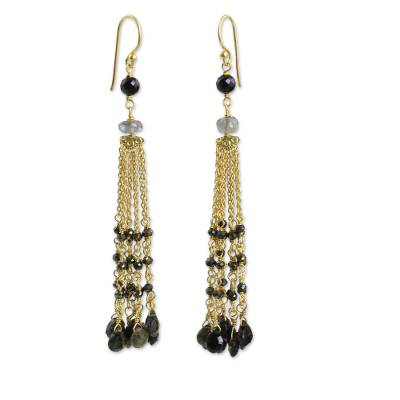 Gold Plated Earrings with Labradorite Tourmaline and Spinel
