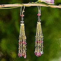 Gold plated tourmaline and labradorite waterfall earrings, 'Thai Romance' - Thai Gold Plated Earrings with Tourmaline and Labradorite