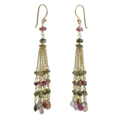 Thai Gold Plated Earrings with Tourmaline and Labradorite