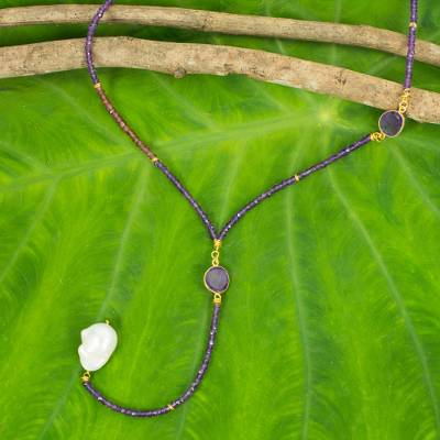 Amethyst and garnet long beaded necklace, 'Spellbound' - Amethyst Garnet and Pearl 27-Inch Long Beaded Necklace
