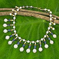 Gold accent cultured pearl and kyanite waterfall necklace, 'Thai Princess'