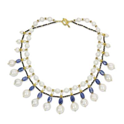 Gold accent cultured pearl and kyanite waterfall necklace, 'Thai Princess' - White Pearl Blue Kyanite Waterfall Necklace with Gold Accent