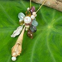 Gold vermeil multi-gemstone brooch pendant necklace, 'Lily Surprise' - Vermeil Pearl and Multi Gem Necklace with Brooch Pendant
