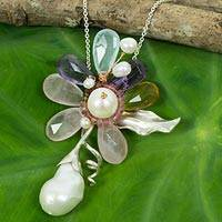Cultured pearls and multi-gemstone long flower necklace, 'Exotic Orchid' - Pearl and Multi Gems Flower on Sterling Silver Necklace
