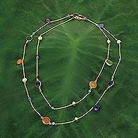 Gold plated multigemstone station necklace, 'Color and Fantasy' - Multi Gemstones on Gold Plated Long Station Necklace