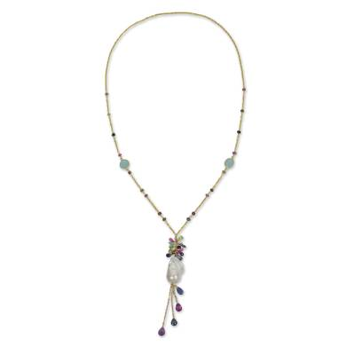 Gold plated cultured pearl and multi-gemstone station necklace, 'Dazzling Fantasy' - Gold Plated Multi Gem Necklace with Pearls from Thailand