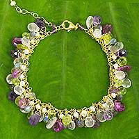 Gold plated cultured pearl and multi-gemstone beaded bracelet, 'Fantastic Orchid Forest'