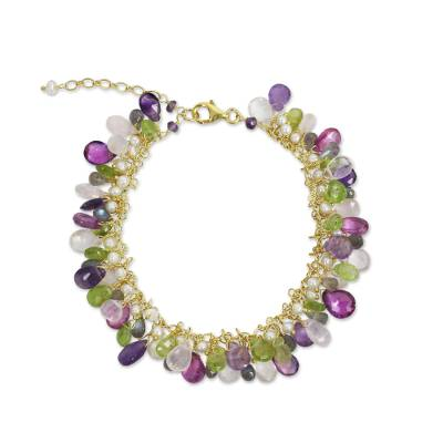 Gold plated cultured pearl and multi-gemstone beaded bracelet, 'Fantastic Orchid Forest' - Gold Plated Multi Gem Bracelet with Pearls from Thailand