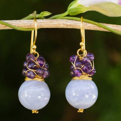 Gold plated blue lace agate and amethyst beaded earrings, 'Harvest Beauty' - Gold Plated Hook Earrings with Blue Lace Agate and Amethyst