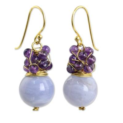 Gold Plated Hook Earrings with Blue Lace Agate and Amethyst