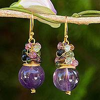 Gold plated amethyst and tourmaline beaded earrings, 'Harvest Beauty'