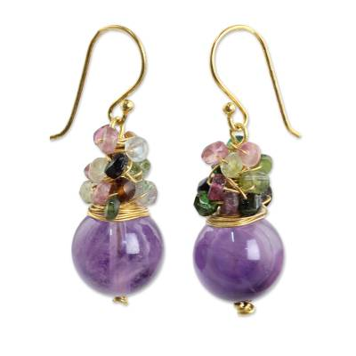 Gold plated amethyst and tourmaline beaded earrings, 'Harvest Beauty' - Gold Plated Hook Earrings with Amethyst and Tourmaline