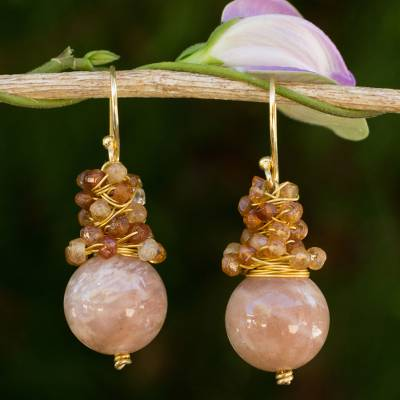 Gold plated sunstone and hessonite beaded earrings, 'Harvest Beauty' - Gold Plated Hook Earrings with Sunstone and Hessonite