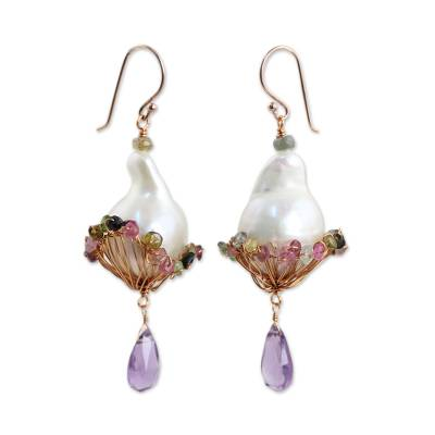 Gold plated cultured pearl and amethyst dangle earrings, 'Precious Nest' - Baroque Pearls Amethyst Tourmaline on Gold Plated Earrings