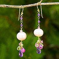 Gold plated cultured pearl and multi-gemstone beaded earrings, 'Tulip Dew'