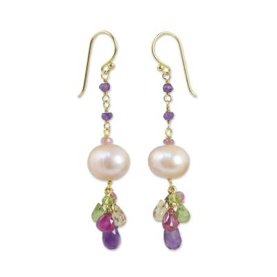 Gold plated cultured pearl and multi-gemstone beaded earrings, 'Tulip Dew' - Peach Pearl Multi Gemstone Gold Plated Earrings