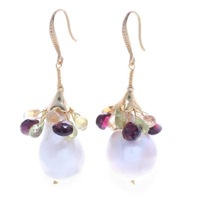 Gold plated gemtone and cultured pearl dangle earrings, 'Rainbow Lily' - Multi Gems and Baroque Pearls on Gold Plated Earrings