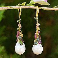 Gold plated cultured pearl and tourmaline dangle earrings, 'Precious Rainbow'
