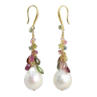 Gold plated cultured pearl and tourmaline dangle earrings, 'Thai Vineyard' - Multicolor Tourmaline and Pearls on Gold Plated Earrings