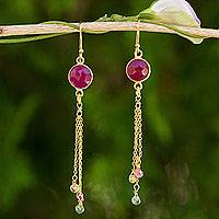 Gold plated sapphire and tourmaline dangle earrings, 'Pink Moonlight' - Thai Sapphire and Tourmaline Gold Plated Silver Earrings