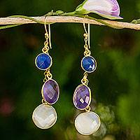 Gold plated multigem waterfall earrings, 'Triple Delight' - Gold Plated Earrings with Moonstone Sapphire Amethyst