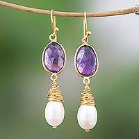 Gold plated cultured pearl and amethyst dangle earrings, 'Wisteria Tears'