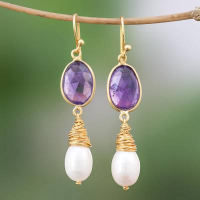 Gold plated cultured pearl and amethyst dangle earrings, 'Wisteria Tears' - Pearl and Amethyst Gold Plated Earrings from Thailand