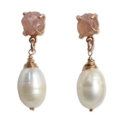 Gold plated cultured pearl and rose quartz dangle earrings, 'Romantic Rose' - Rose Quartz and Pearl on Rose Gold Plated Earrings